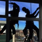 silhouette rope access (abseil) cleaning