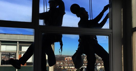 Rope access cleaning | Abseil window cleaning