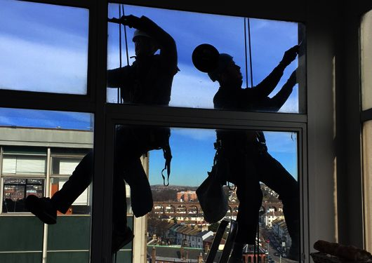 silhouette rope access cleaning